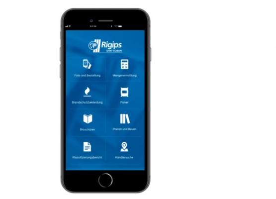 Srcreenshot der Rigips App - Übersicht