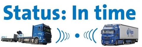 Rigips Mobile Order Management, zwei LKW mit Rigips Aufdruck